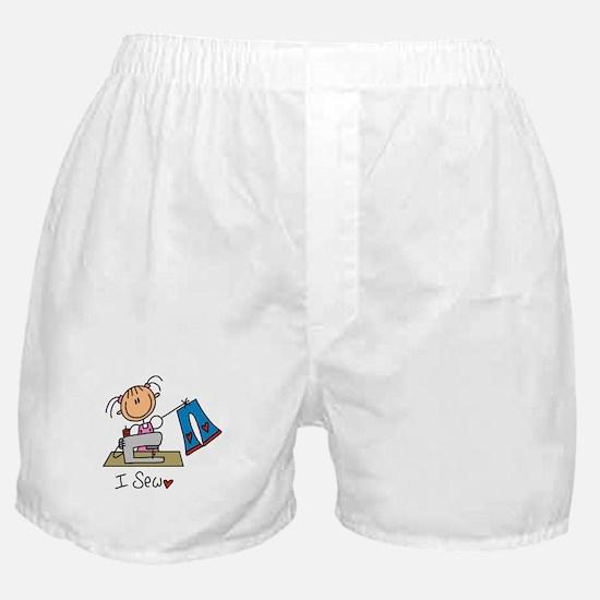 I Sew Stick Figure Boxer Shorts