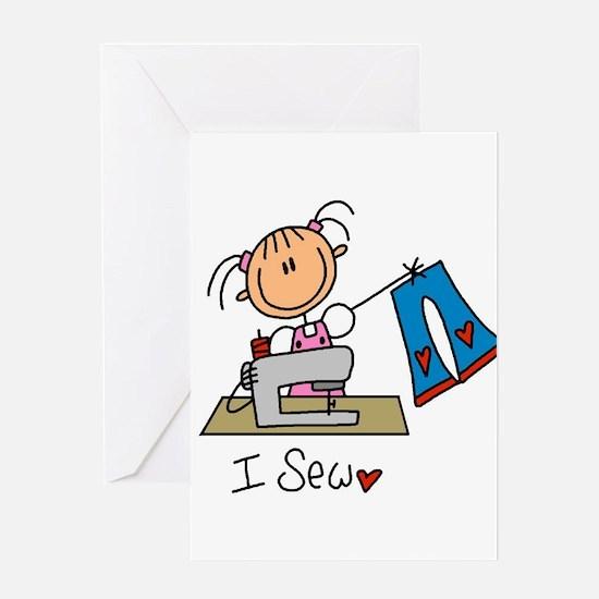I Sew Stick Figure Greeting Card