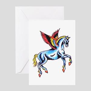 Fantasy Flying Horse Tattoo Greeting Card