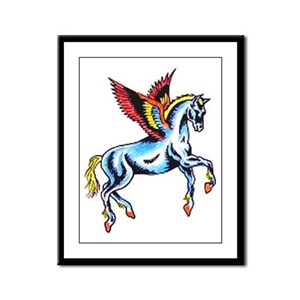Fantasy Flying Horse Tattoo Framed Panel Print