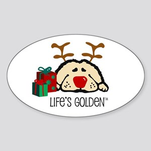 Life's Golden Rudolph Oval Sticker