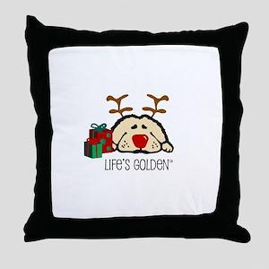 Life's Golden Rudolph Throw Pillow