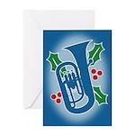 Euphonium Holly Greeting Card