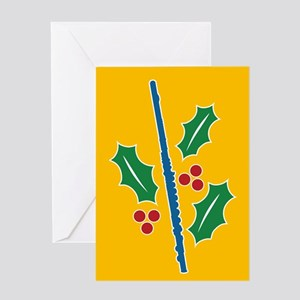 Flute Holly Greeting Card