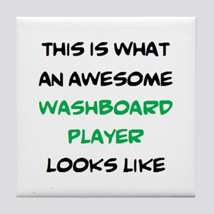 awesome washboard player Tile Coaster