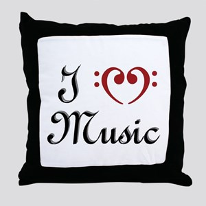I Heart (Love) Music Throw Pillow