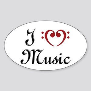 I Heart (Love) Music Oval Sticker