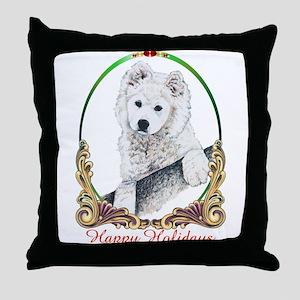 Samoyed Happy Holidays Throw Pillow