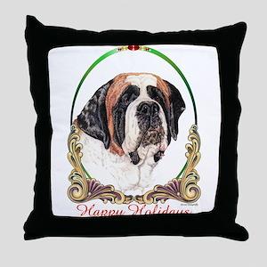 St Bernard Happy Holidays Throw Pillow