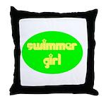 Swimmer Girl Throw Pillow