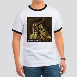 'Guy Fawkes' Ringer T-Shirt With Backprint