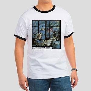 'Night Shift Blues' Ringer T-Shirt With Backprint