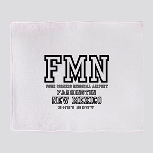 AIRPORT CODES - FMN - FARMINGTON, NE Throw Blanket