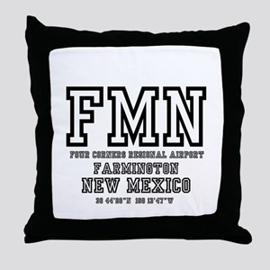 AIRPORT CODES - FMN - FARMINGTON, NEW Throw Pillow