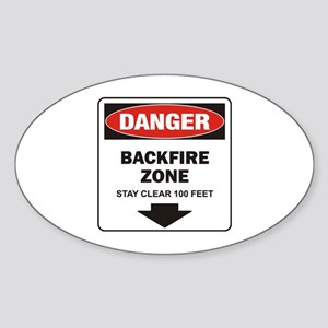 Danger Backfire Oval Sticker