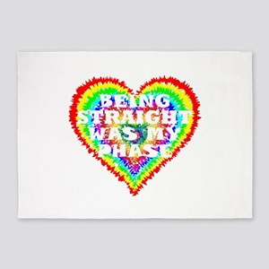 Funny Rainbow Heart LGBT, LGBTQ Gif 5'x7'Area Rug