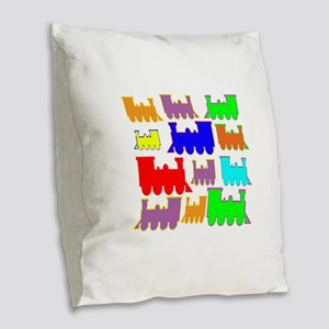 rainbow trains Burlap Throw Pillow