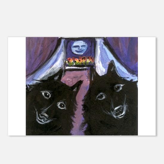 schipperke two moon Postcards (Package of 8)