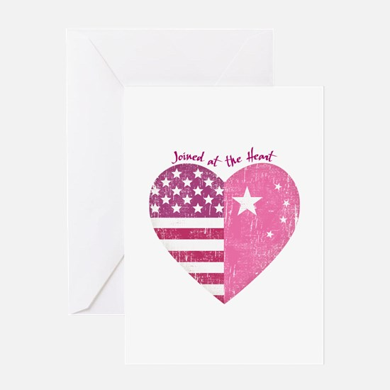 Joined at the Heart (pink) Greeting Card