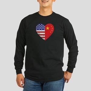 Family Heart Long Sleeve Dark T-Shirt