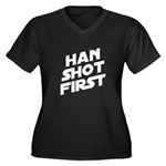 Han Shot First Women's Plus Size V-Neck Dark T-Shi