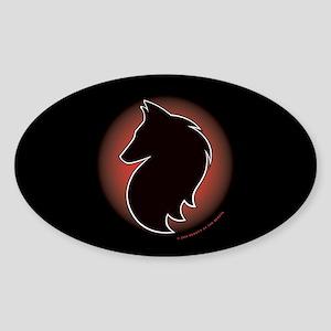 Red Sun Belgian Oval Sticker