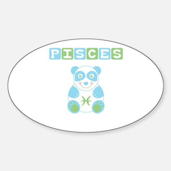 Pisces Bear - Blue Oval Decal