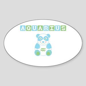 Aquarius Bear - Blue Oval Sticker