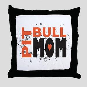 Pit Bull Mom Throw Pillow