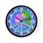 Peace Symbol Parrot Wall Clock