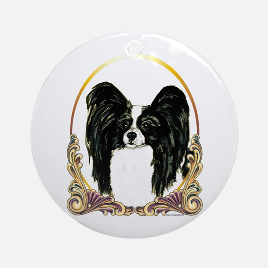 B/W Papillon Christmas Ornament (Round)