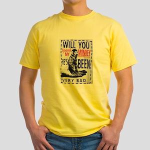 Spank my monkey Yellow T-Shirt