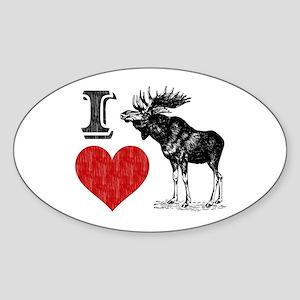 I Love Moose Oval Sticker