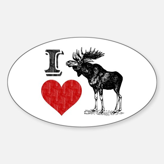 I Love Moose Oval Decal