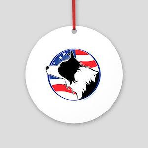 Border Collie B&W Flag Ornament (Round)