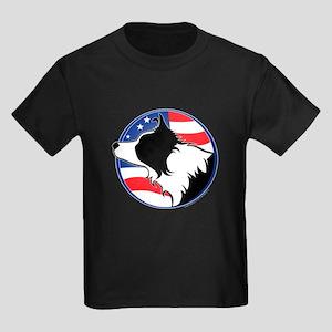 Border Collie B&W Flag Kids Dark T-Shirt