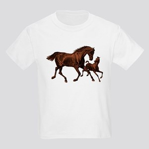 Chestnut Mare and Foal Kids Light T-Shirt