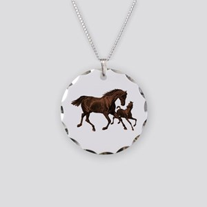 Chestnut Mare and Foal Necklace Circle Charm