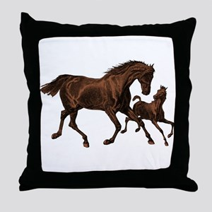 Chestnut Mare and Foal Throw Pillow