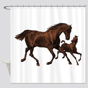 Chestnut Mare and Foal Shower Curtain