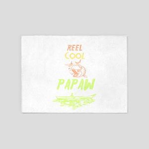 Reel Cool Papaw Shirt Fishing Birth 5'x7'Area Rug