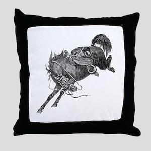 Bucking Bronco Throw Pillow
