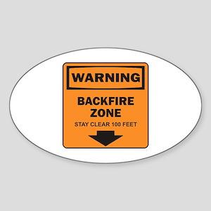 Warning Backfire Oval Sticker