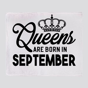 Queens Are Born In September Throw Blanket