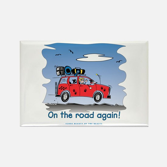 On the Road Again - Bright Sky Rectangle Magnet