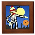 Sock Monkey Halloween Framed Tile