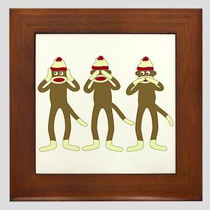 No Evil Sock Monkeys Framed Tile