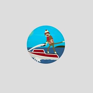 Sock Monkey Jet Ski Mini Button