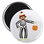 Sock Monkey Halloween Round Magnet