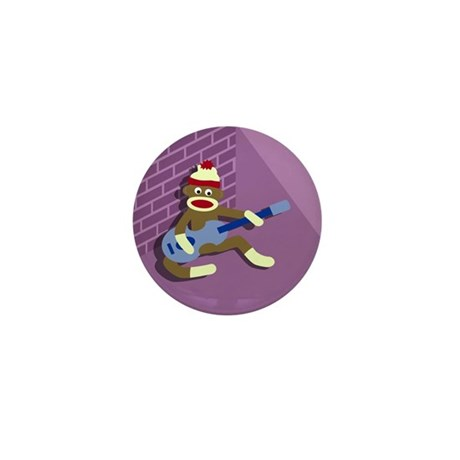 Sock Monkey Blue Guitar Mini Button
